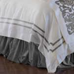 Lili Alessandra Soho Duvet White Linen with Silver Velvet Applique Duvet