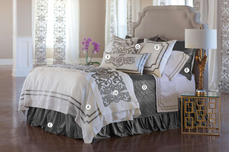 Lili Alessandra Soho White Linen with Silver Velvet Applique Bedding Collection.