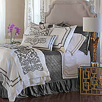 Lili Alessandra Soho White Linen with Silver Velvet Applique Swatch Collection