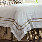 Lili Alessandra Soho Duvet White Linen with Straw Velvet Applique Duvet