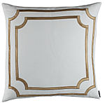 Lili Alessandra Soho White Linen with Straw Velvet Applique Pillow