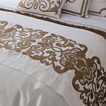 Lili Alessandra Mozart White Linen with Straw Velvet Applique Throw