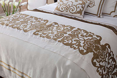 Lili Alessandra Soho White Linen with Straw Velvet Applique Bedding Collection.