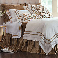 Lili Alessandra Soho White Linen with Straw Velvet Applique Bedding Collection