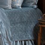 Lili Alessandra Chloe Prewashed Velvet / Ice Blue (washable) Quilted Coverlet