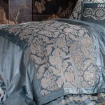 Lili Alessandra Versailles Ice Blue Velvet With Ivory Velvet Throw