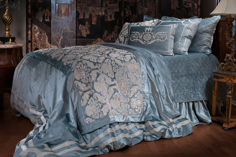 lili alessandra versailles bedding - ice blue velvet with ivory velvet