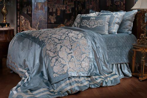 Lili Alessandra Versailles Ice Blue Velvet With Ivory Velvet Swatch