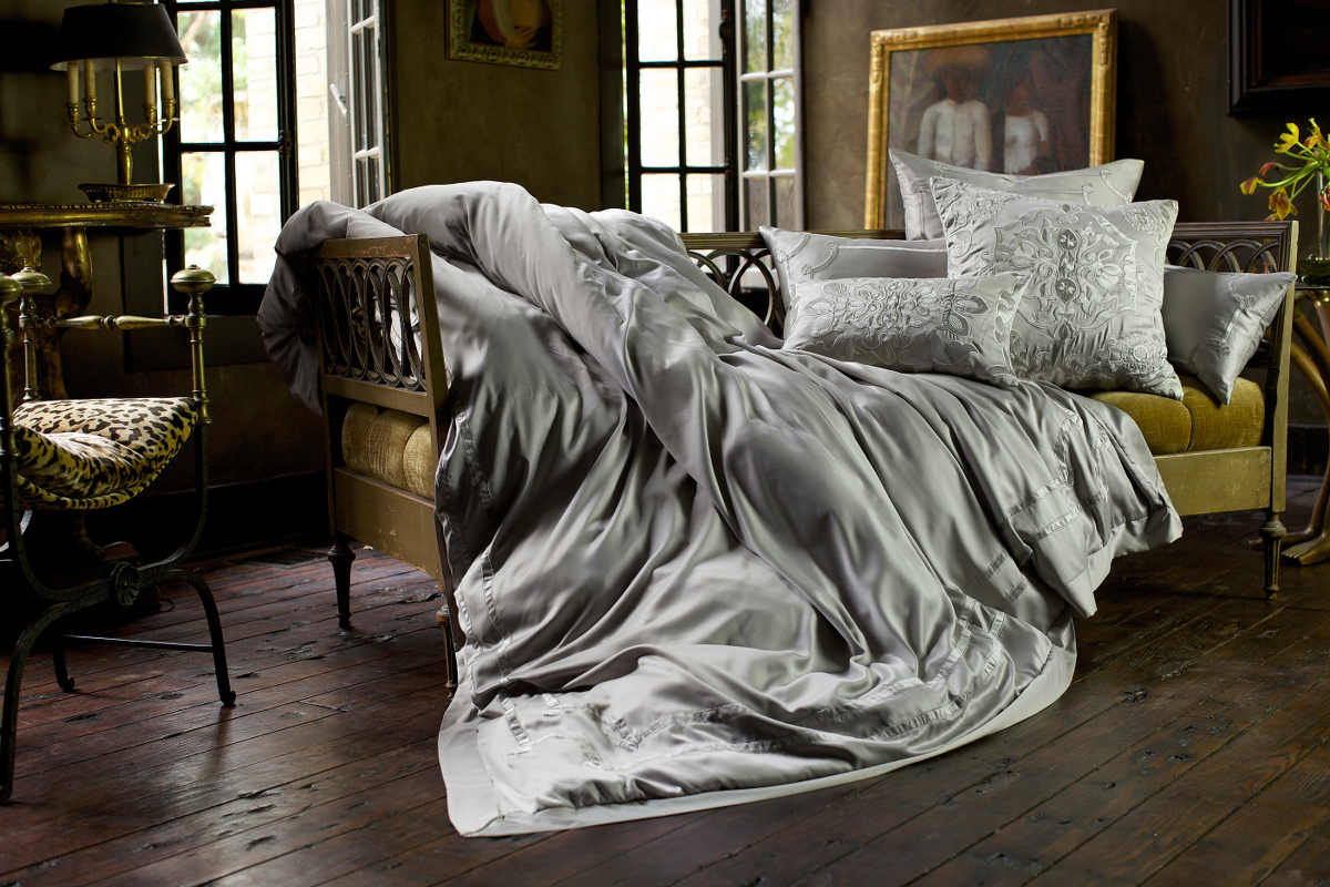 lili alessandra vendome taupe silk & sensibility/fawn velvet bedding