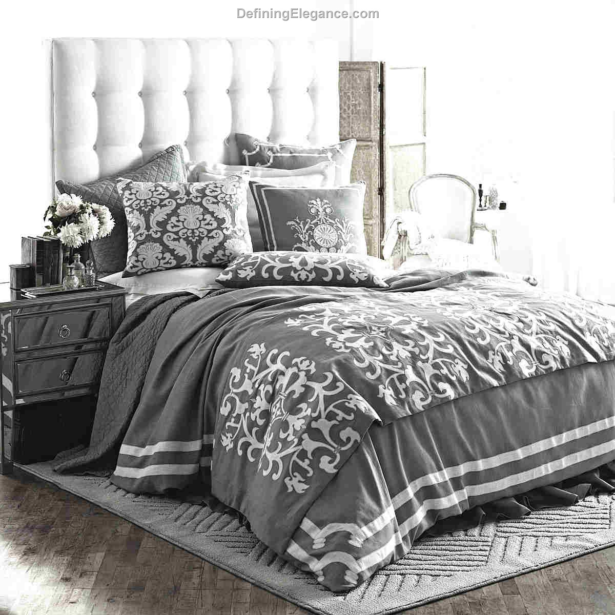 Lili Alessandra Versailles Ash Gray Linen With White Linen Applique Bedding Collection