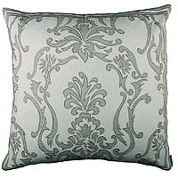 Lili Alessandra Hand Appliqued Pillows in Ivory Basket Weave with Natural Linen Applique