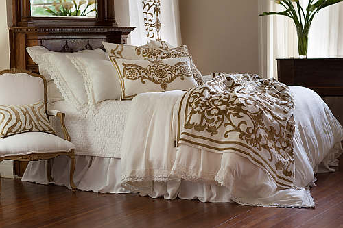Lili Alessandra Theresa White Linen with Lace Bedding Collection