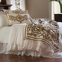 Lili Alessandra Theresa White Lace Bedding and Emily Diamond Quilted Collection