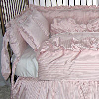 Lulla Smith Park Avenue Patterned Embellished Silk/Dupioni Silk Pinstripe Crib Bedding