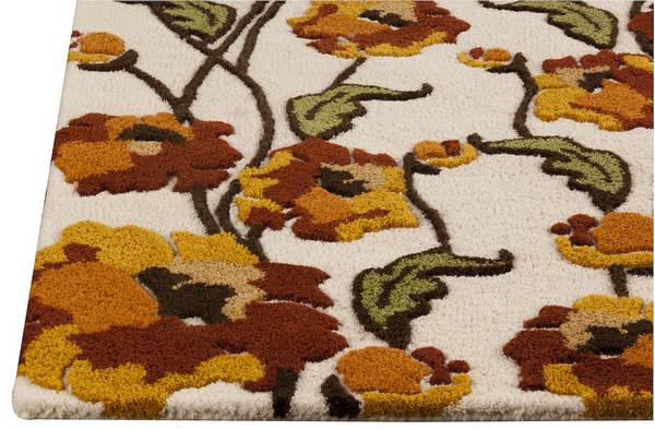 MAT Orange Fiore Area Rug - White Rust
