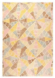Mat Orange Labyrinth Area Rug - Multi