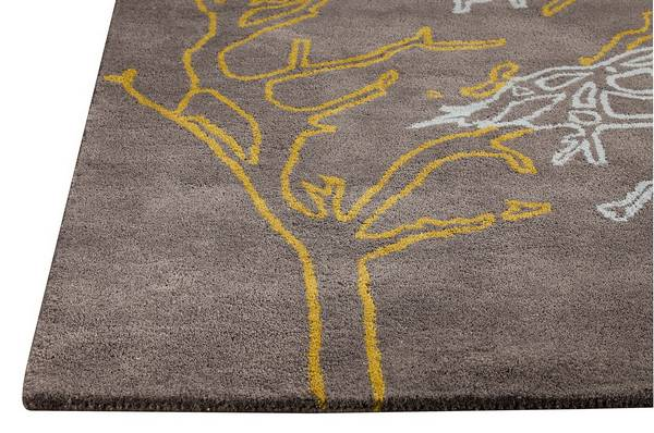 MAT Orange Vines Area Rug - Grey