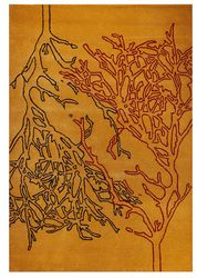 Mat Orange Vines Area Rug - Orange