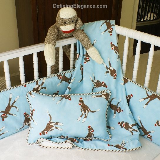 Sock Monkey Nursery Bedding White Bed