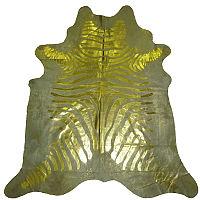 Muriel Kay Gold Striped Metallic Zebra Cowhide