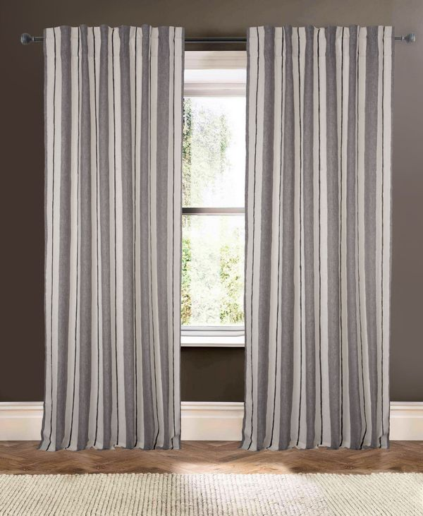 Available on DefiningElegance.com - luxurious Muriel Kay Henley Drapery Panels created with Linen in Ivory Gray.