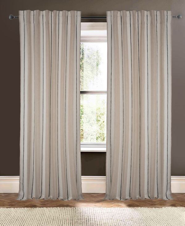 Available on DefiningElegance.com - luxurious Muriel Kay Henley Drapery Panels created with Linen in Ivory Natural.