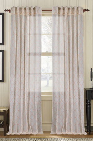 Available on DefiningElegance.com - luxurious Muriel Kay Glority Sheer Drapery Panels created with 100% Cotton Organdy - beige color.