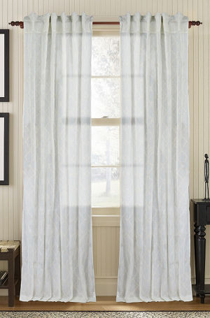 Available on DefiningElegance.com - luxurious Muriel Kay Glority Sheer Drapery Panels created with 100% Cotton Organdy - mist color.