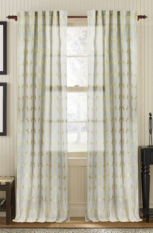 Available on DefiningElegance.com - luxurious Muriel Kay Tarn Sheer Drapery Panels created with 100% Cotton Organdy in cement color.