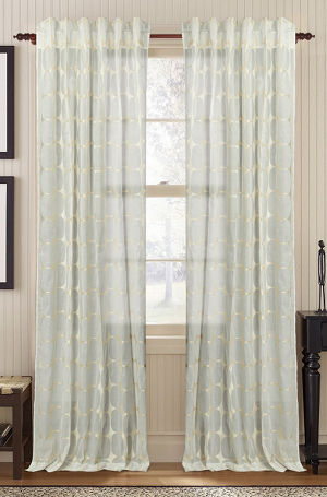 Available on DefiningElegance.com - luxurious Muriel Kay Tarn Sheer Drapery Panels created with 100% Cotton Organdy in ivory color.