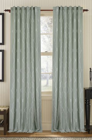 Available on DefiningElegance.com - luxurious Muriel Kay Viola Drapery Panels created with linen/cotton blend in charlotte blue.