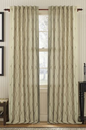 Available on DefiningElegance.com - luxurious Muriel Kay Viola Drapery Panels created with linen/cotton blend in natural.