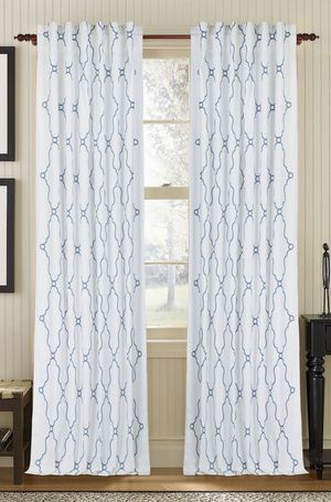 Available on DefiningElegance.com - luxurious Muriel Kay Viola Drapery Panels created with linen/cotton blend in white.