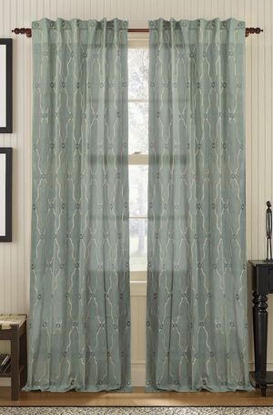 Available on DefiningElegance.com - luxurious Muriel Kay Viola Sheer Drapery Panels created with 100% Cotton Organdy in charlotte blue.