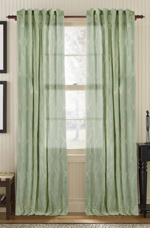 Available on DefiningElegance.com - luxurious Muriel Kay Viola Sheer Drapery Panels created with 100% Cotton Organdy in seafoam green.