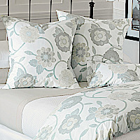 Nancy Koltes Fine Italian Linens - Gramercy features a stylized floral in muted, neutral colors with a touch of gray - the new natural.