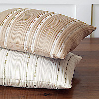 Nancy Koltes Madison Bedding - An understated, classic boutis coverlet, sham and bolster grouping woven in Italy of Egyptian cotton with subtle accents in pure linen.
