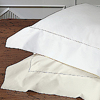 Nancy Koltes Perla Bedding is a remarkably soft and luxurious 500 count Egyptian cotton percale, finished with a single line of hemstitching.