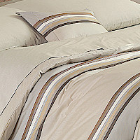 Nancy Koltes Princeton Duvet covers feature a large horizontal, multi-colored stripe running horizontally between two alternating fields of solid beige and sage.