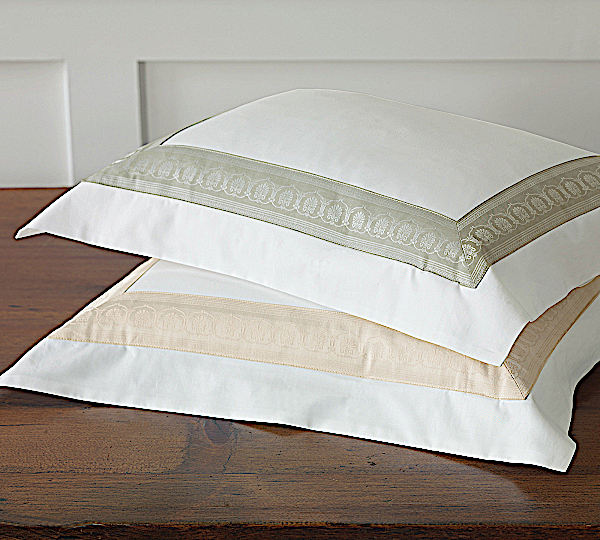Nancy Koltes Queen Anne Bedding is available in Ecru or Sage with White.