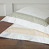 Nancy Koltes Queen Anne Bedding - this design was inspired by a carved decorative border on a buffet in the Queen Anne style from 1720-1760.