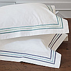 Nancy Koltes Ritz Bedding is available in Heather or Lagoon.