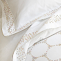 The soie percale is clothed in openwork embroidery which lights up this exceptional set with stitchery in the purest French tradition.