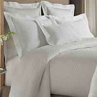 Peacock Alley Alyssa is a diamond designed matelasse coverlet with 8 rows of stitching.  Also includes shams, bedskirt, and pillow - all tailored, 100% Egyptian Cotton, imported, machine washable.