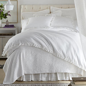Peacock Alley Ellie Ruffled Washed Percale Duvet and Sham