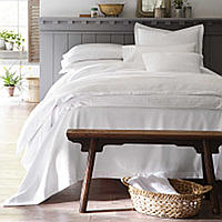 Modern seersucker heirloom with a stone washed finish bedding.