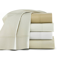 Peacock Alley Lyric percale sheets with double row of hemstitching in sheets, cases, and shams.  Duvet cover and shams are tailored. 500 Thread Count, 100% Egyptian Cotton. Imported, machine washable.