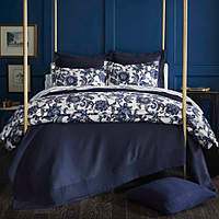 Peacock Alley Margaux Duvet & Sham - Jacobean inspired, overscaled blue and white foral print.