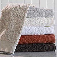 Create the ultimate spa experience at home or away with these Peacock Alley ribbed textured, luxurious Egyptian cotton, bamboo, and velour jacquard towels and plush robes.