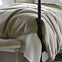 Either standing on its own or as an element, this earthy linen bedding, Rio Corded by Peacock Alley, is now available in many new colors.